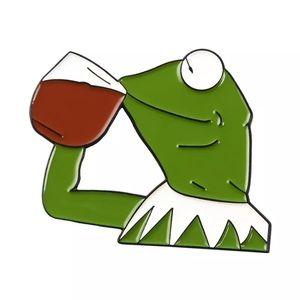 Jewelry - 🎉 Kermit the Frog Tea Meme Enamel Brooch Pin